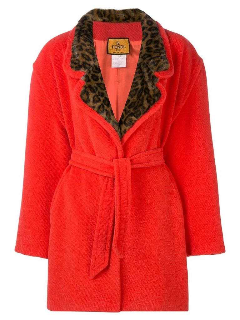 Fendi Vintage 1980's leopard detail coat - Orange