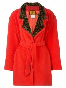 FENDI PRE-OWNED 1980's leopard detail coat - Orange