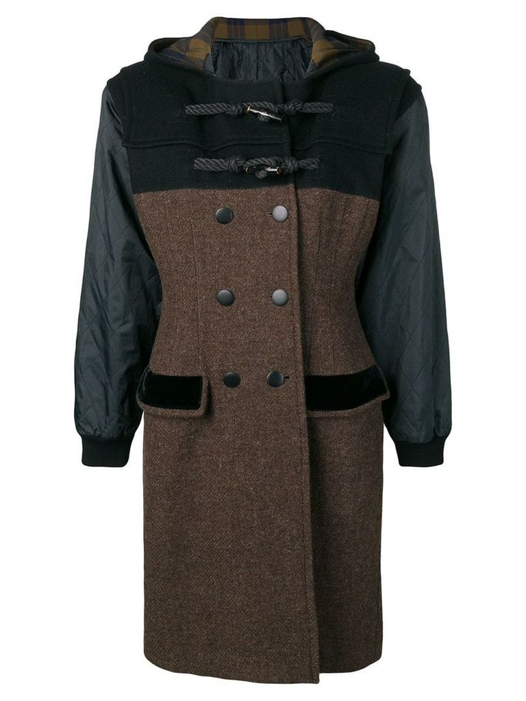 Jean Paul Gaultier Pre-Owned hooded double-breasted coat - Brown