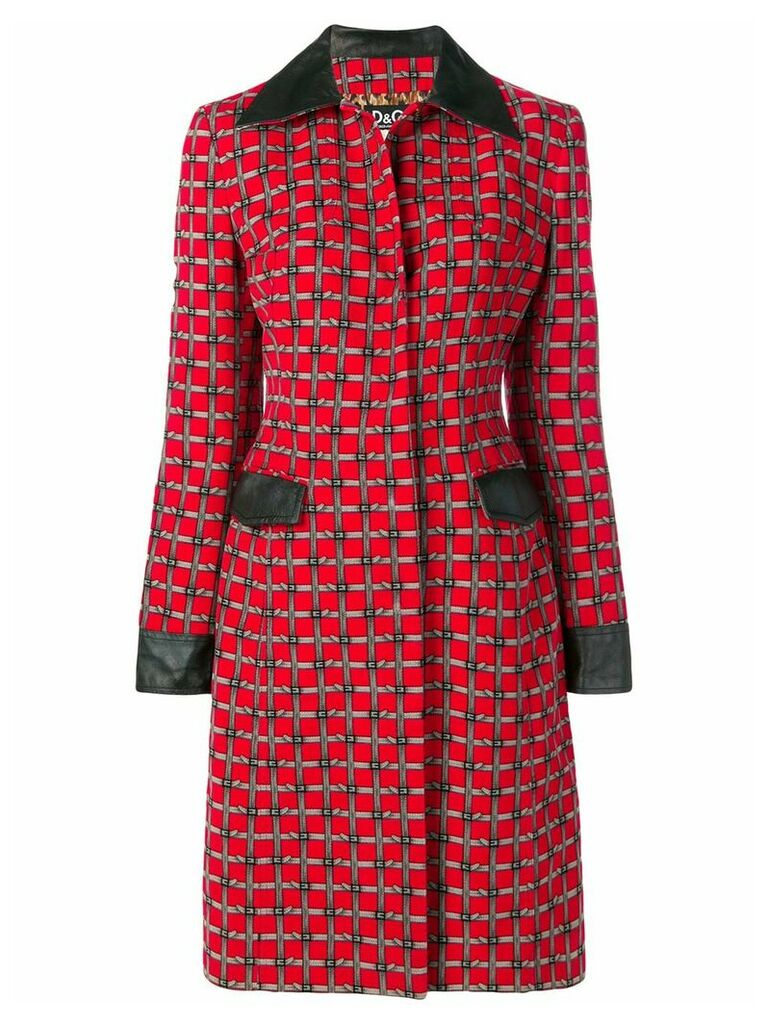 Dolce & Gabbana Vintage buckle belt print coat - Red
