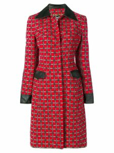 DOLCE & GABBANA PRE-OWNED buckle belt print coat - Red