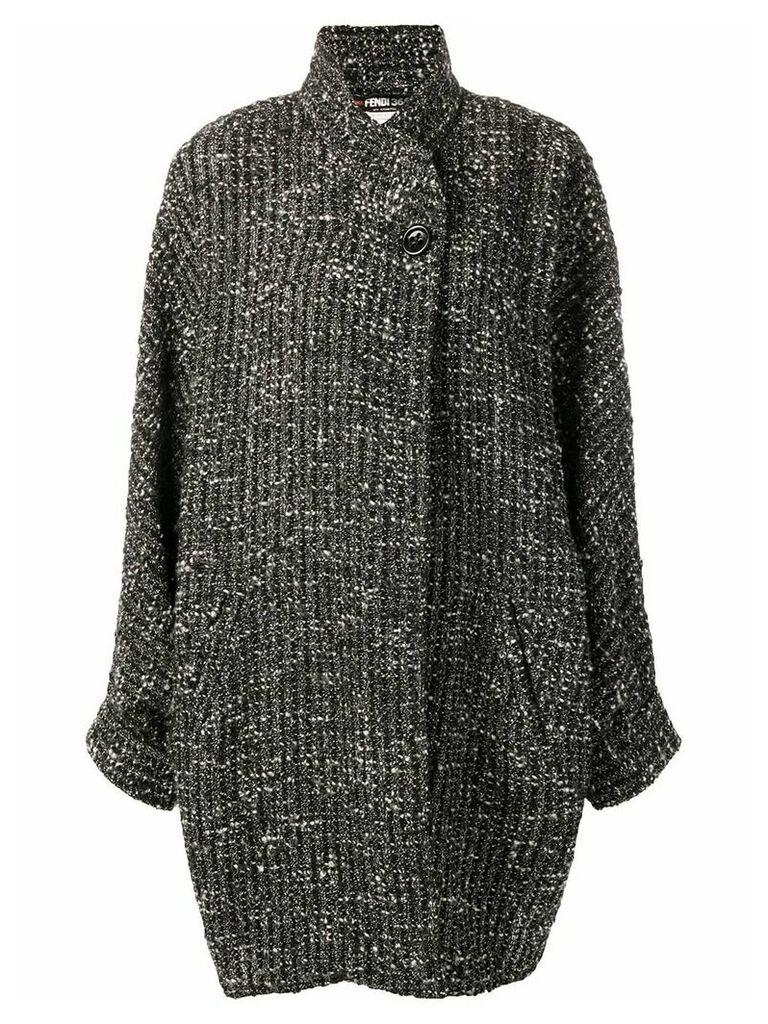 Fendi Pre-Owned tweed wrap coat - Black