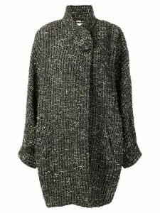 Fendi Pre-Owned tweed wrap coat - Black