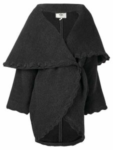 Fendi Pre-Owned scalloped trim wrap coat - Grey