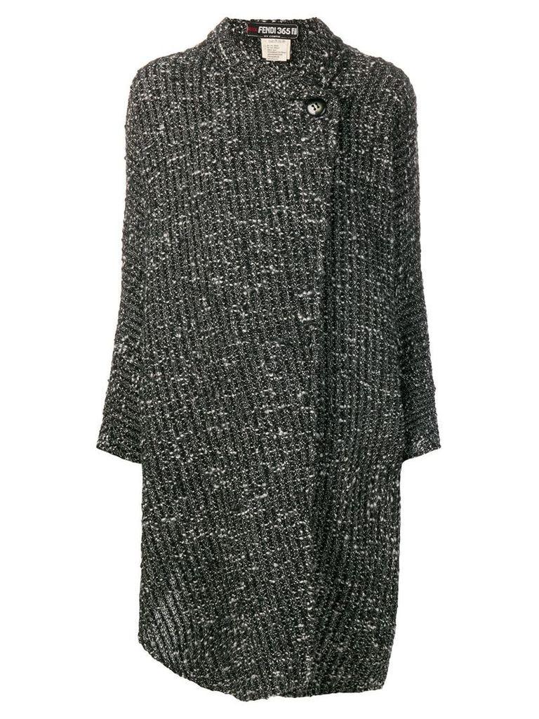 Fendi Vintage boucle wrap coat - Black