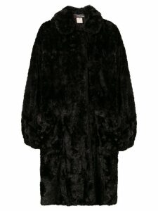 Fendi Pre-Owned 1980's midi teddy coat - Black