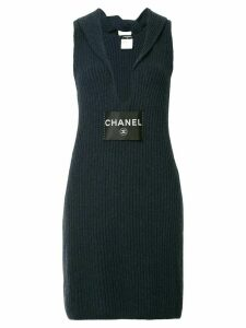 Chanel Pre-Owned ribbed v-neck dress - Blue