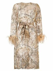 William Vintage paisley embroidered midi dress - Neutrals