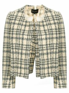 Comme Des Garçons Pre-Owned 1997 cropped checkered jacket - Neutrals