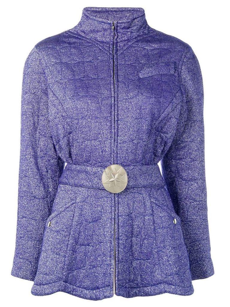 Thierry Mugler Vintage high neck belted jacket - Blue