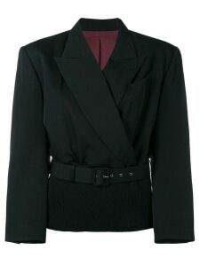 Jean Paul Gaultier Pre-Owned ribbed waist blazer - Black