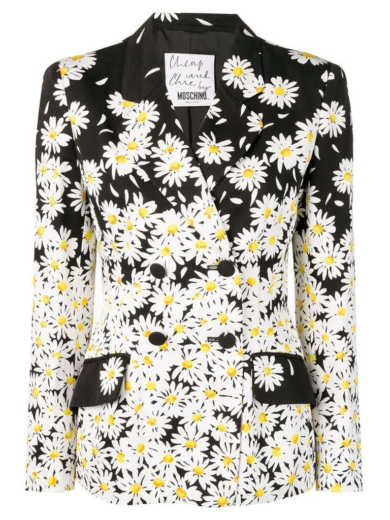 Moschino Vintage daisy print double-breasted blazer - Black