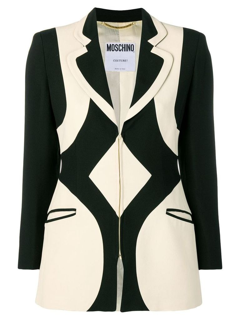 Moschino Vintage 1990's graphic pattern blazer - Black