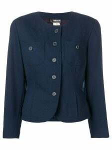 Fendi Pre-Owned 1980's collarless fitted jacket - Blue