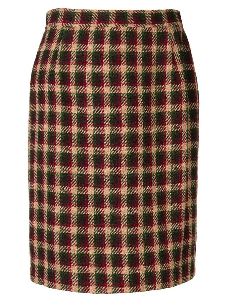 Valentino Vintage 1980's checked fitted skirt - Neutrals