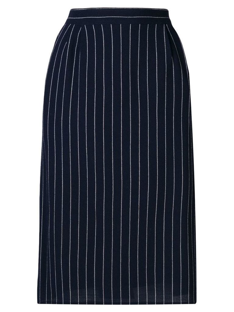 Fendi Vintage 1980's pinstripe tailored skirt - Blue