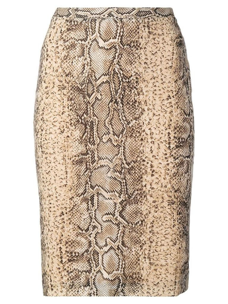 Dolce & Gabbana Pre-Owned snakeskin effect pencil skirt - Neutrals