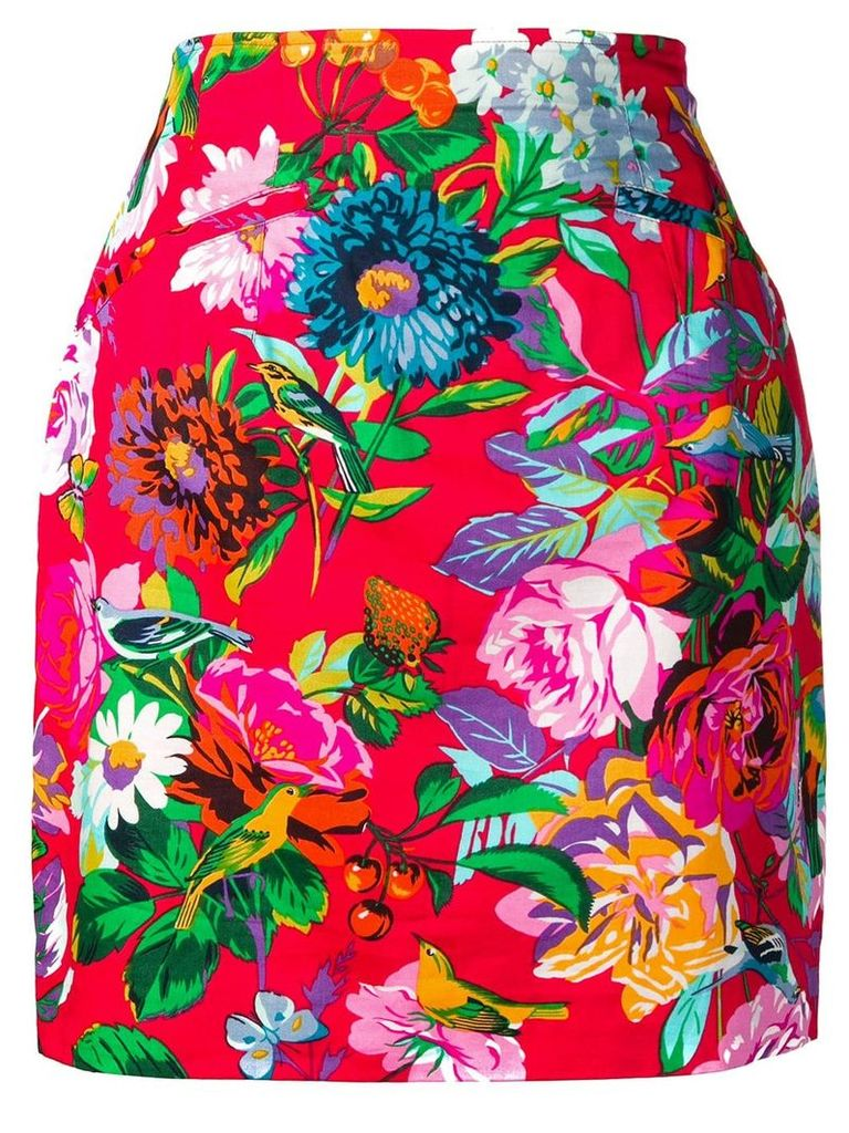 Kenzo Vintage floral print skirt - Red