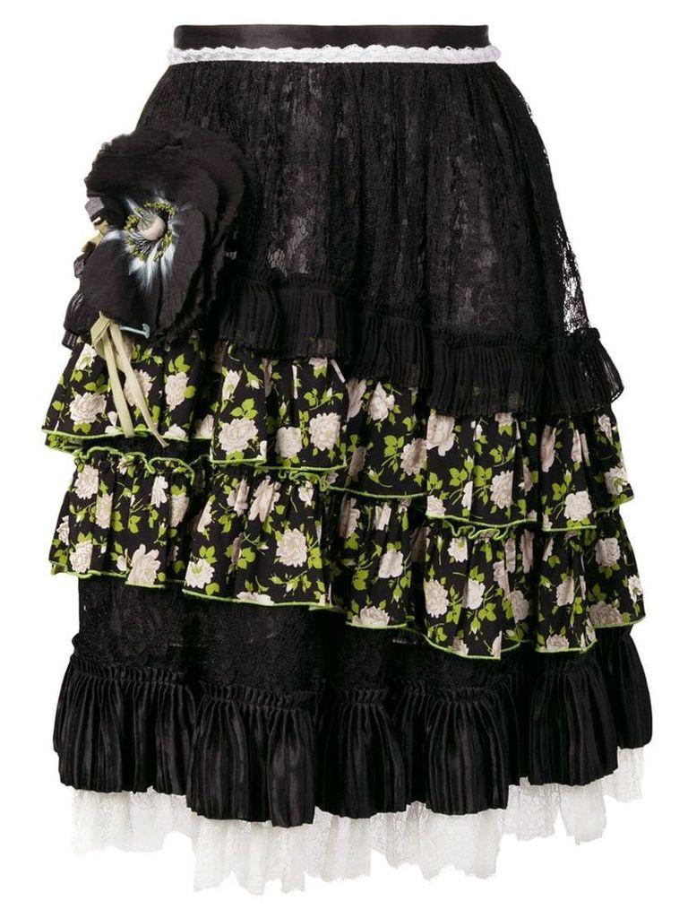 Dolce & Gabbana Vintage flower appliqué midi skirt - Black