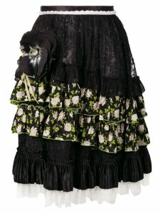 Dolce & Gabbana Pre-Owned flower appliqué midi skirt - Black