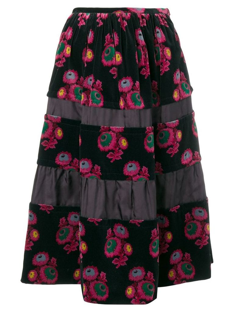 Comme Des Garçons Pre-Owned floral print velvet skirt - Black