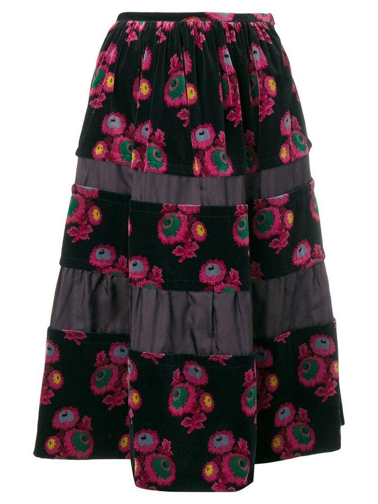 Comme Des Garçons Vintage floral print velvet skirt - Black