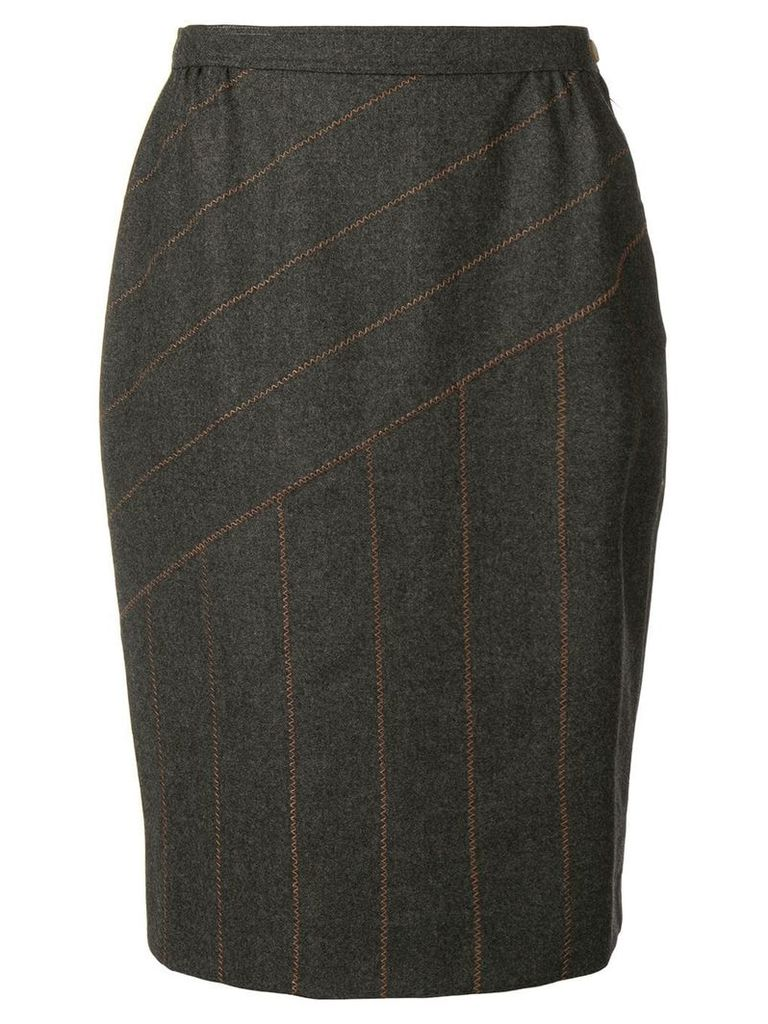 FENDI PRE-OWNED panelled stitch pencil skirt - Grey