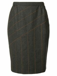 Fendi Vintage panelled stitch pencil skirt - Grey