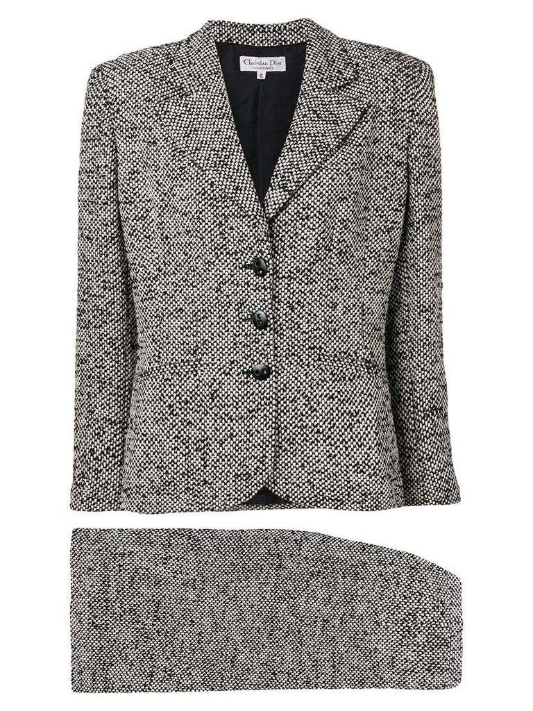 Christian Dior Vintage 1990's tweed woven skirt suit - White