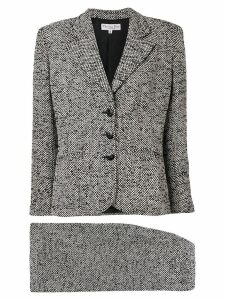 Christian Dior Pre-Owned 1990's tweed woven skirt suit - White