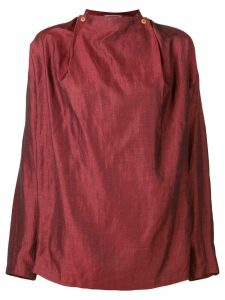 Issey Miyake Pre-Owned 1980's collarless shirt - Red
