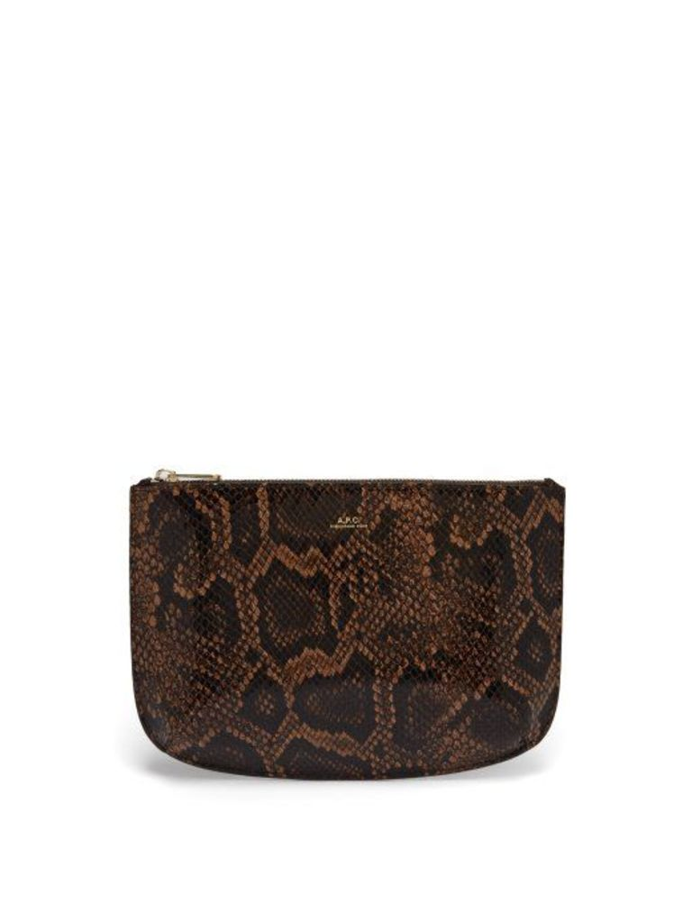 A.p.c. - Sarah Python Effect Leather Pouch - Womens - Brown Multi