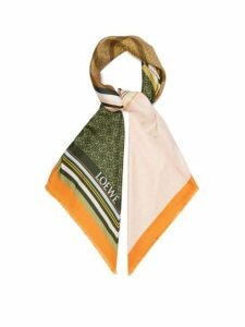 Loewe - Logo Print Patchwork Silk Scarf - Womens - Orange