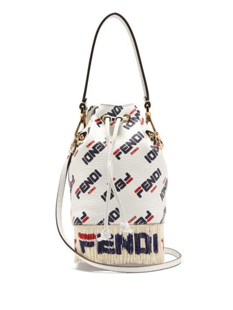 Fendi - Mania Mon Tresor Logo Leather Bucket Bag - Womens - White Multi