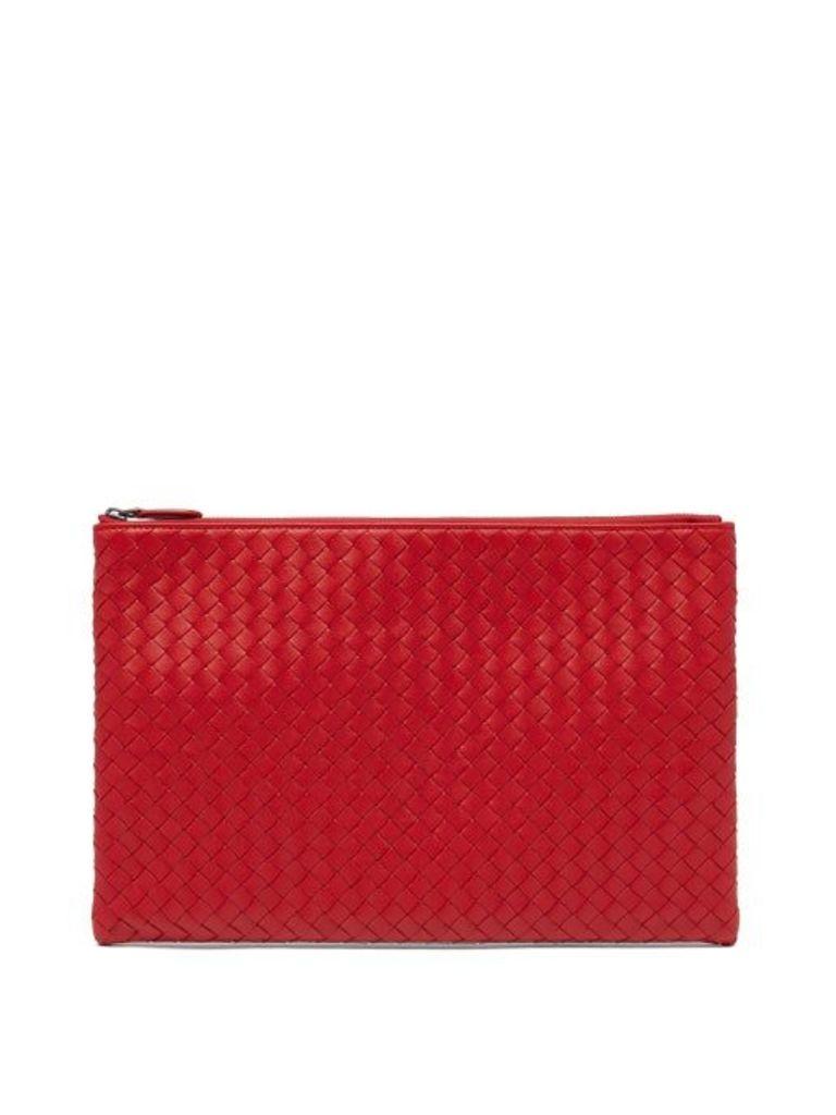 Bottega Veneta - Intrecciato Leather Pouch - Womens - Red