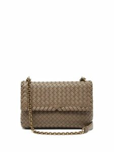 Bottega Veneta - Olimpia Intrecciato Leather Cross Body Bag - Womens - Grey
