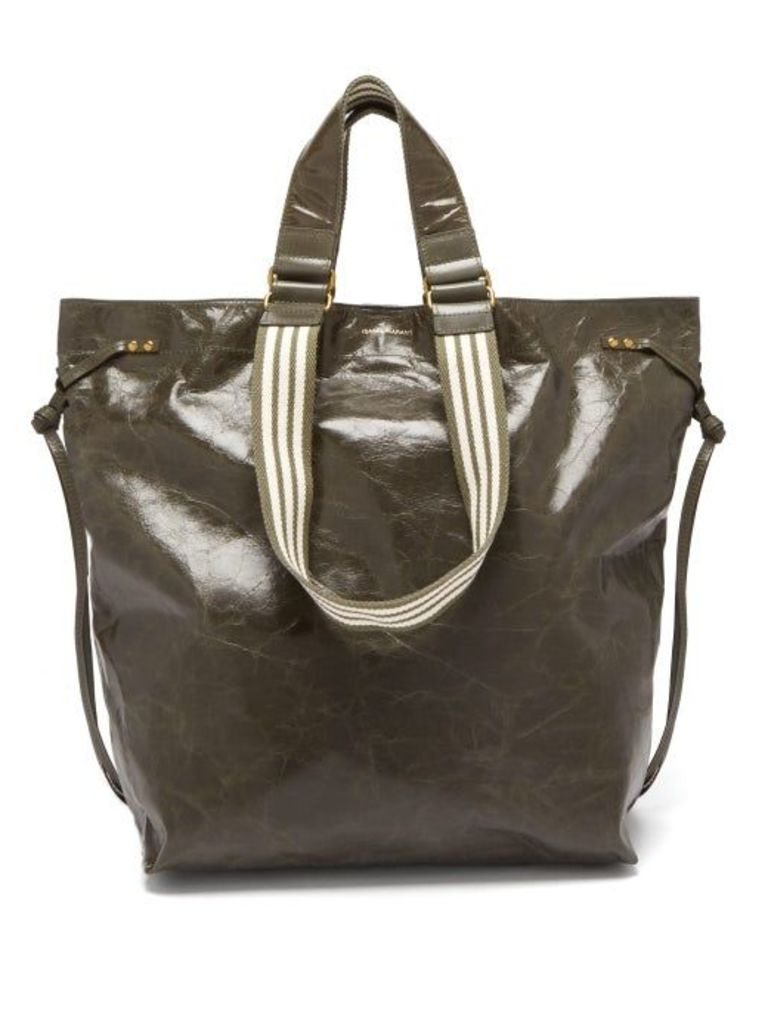 Isabel Marant - Doogan Patent Leather Tote - Womens - Khaki Multi