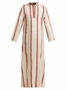 Su Paris - Kiku Mandarin Collar Striped Cotton Kaftan - Womens - Red Stripe