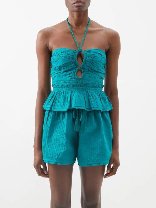 Zimmermann - Corsage Lace-insert Linen Skirt - Womens - Black