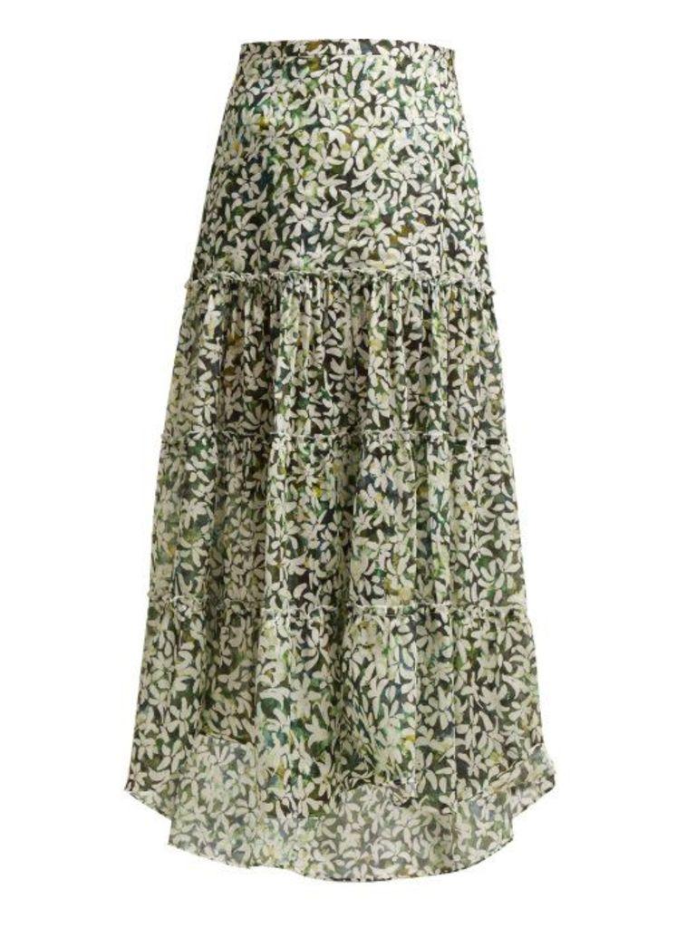 On The Island - Kaupoa Tiered Floral Print Cotton Midi Skirt - Womens - Green Print