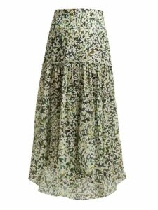 On The Island - Kaupoa Tiered Floral Print Cotton Midi Skirt - Womens - Green Print