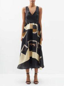 Albus Lumen - Azul Belted Crepe Maxi Dress - Womens - Dark Green