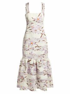 Zimmermann - Floral Patterned Linen Maxi Dress - Womens - Ivory Multi