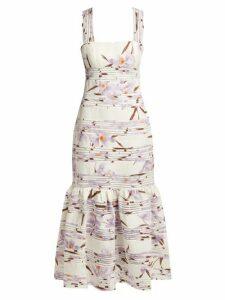 Zimmermann - Floral-patterned Linen Maxi Dress - Womens - Ivory Multi