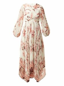 Zimmermann - Corsage Orchid Print Pleated Midi Dress - Womens - Pink Print