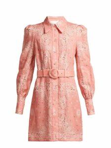 Zimmermann - Heathers Bandana Print Linen Shirtdress - Womens - Pink Print