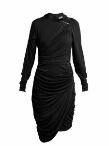 Preen By Thornton Bregazzi - Alex Crinkled Georgette Ruched Midi Dress - Womens - Black