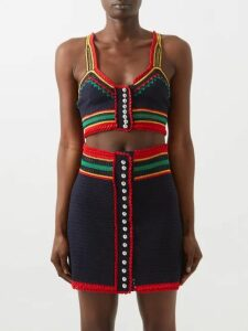 Erdem - Marion Floral Jacquard Cotton Blend Dress - Womens - Black Multi
