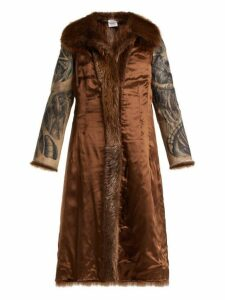 Vetements - Inside Out Belted Fur Coat - Womens - Brown Multi