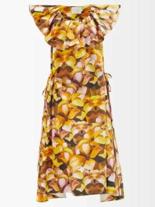 Rebecca De Ravenel - Single Breasted Alligator Print Cloqué Coat - Womens - Ivory